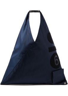 Mm6 Maison Margiela Woman Felt-appliquéd Shell Tote Midnight Blue