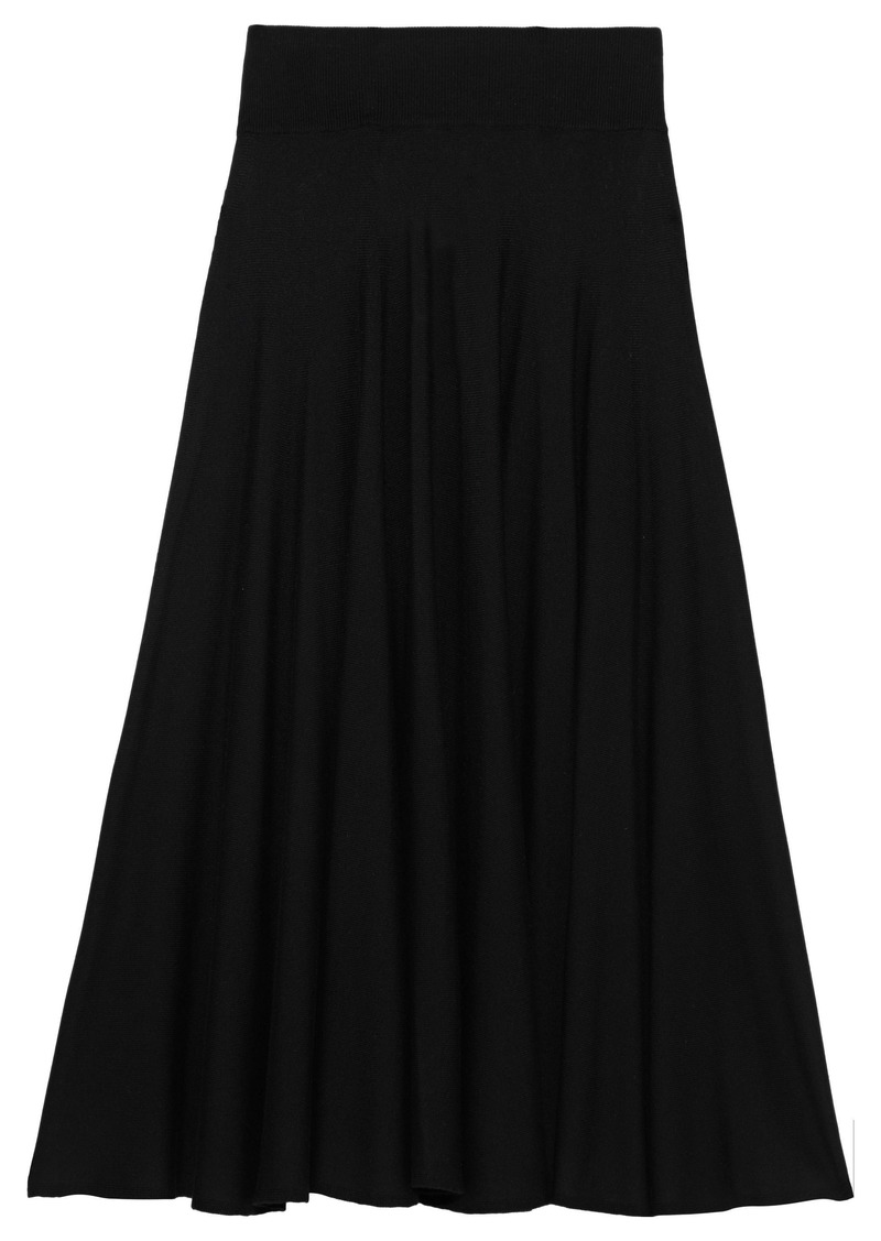 Mm6 Maison Margiela Woman Flared Pointelle-trimmed Stretch-knit Midi Skirt Black