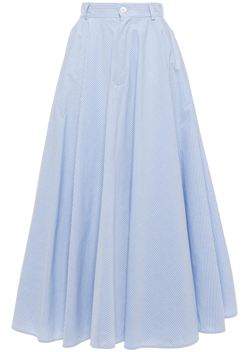 Mm6 Maison Margiela Woman Flared Striped Cotton-poplin Midi Skirt Light Blue