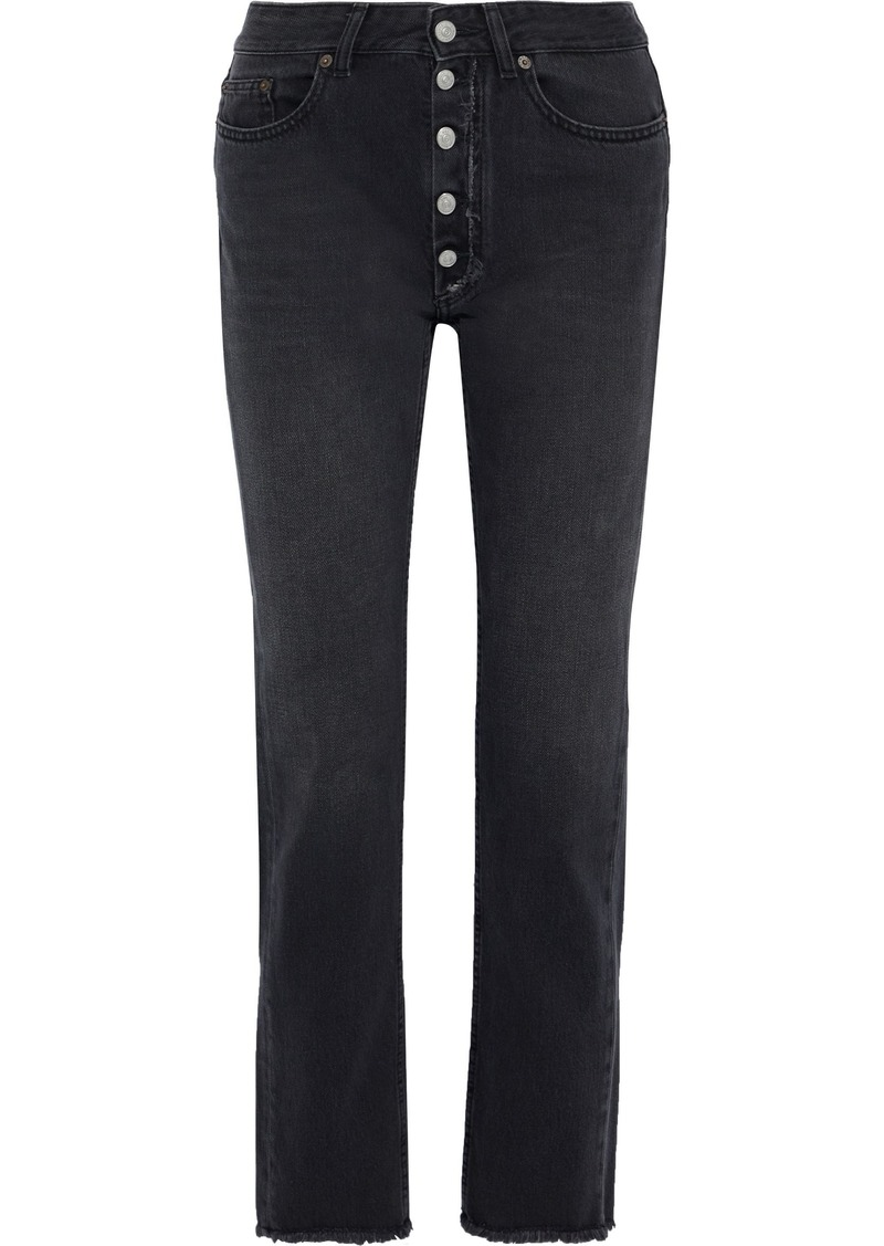 Mm6 Maison Margiela Woman Frayed Faded High-rise Slim-leg Jeans Black