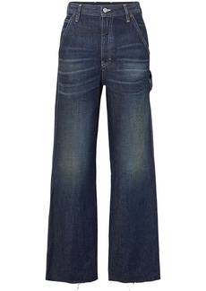 Mm6 Maison Margiela Woman Frayed High-rise Wide-leg Jeans Dark Denim