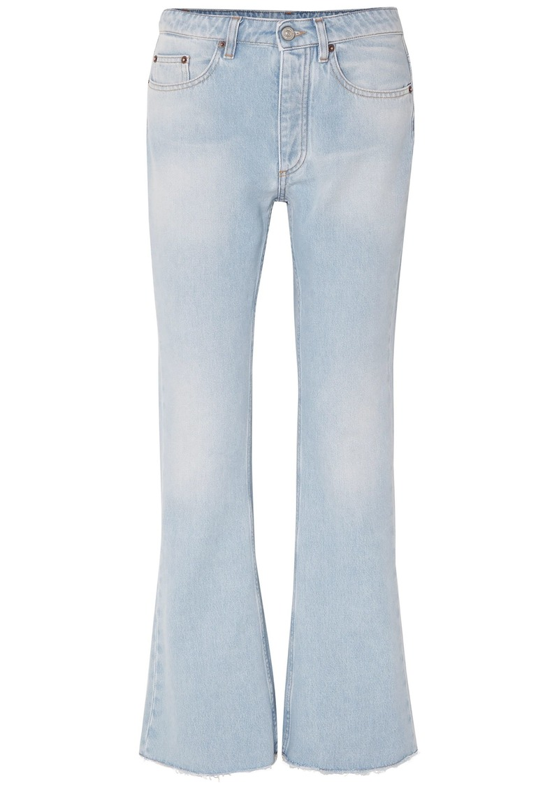 Mm6 Maison Margiela Woman Frayed Mid-rise Flared Jeans Light Denim