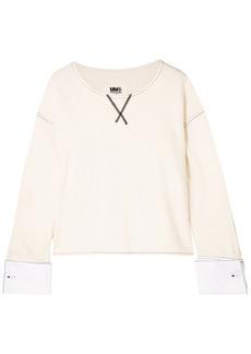 Mm6 Maison Margiela Woman French Cotton-blend Terry Sweatshirt White