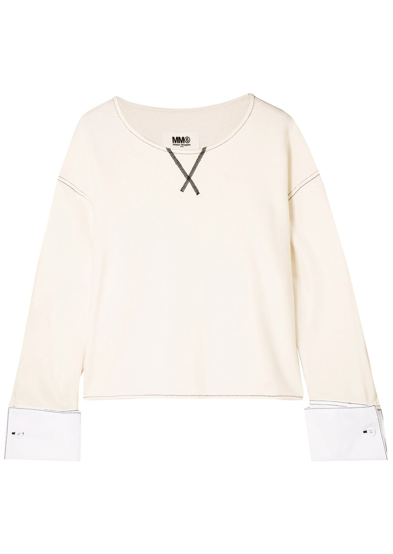 Mm6 Maison Margiela Woman French Cotton-blend Terry Sweatshirt White