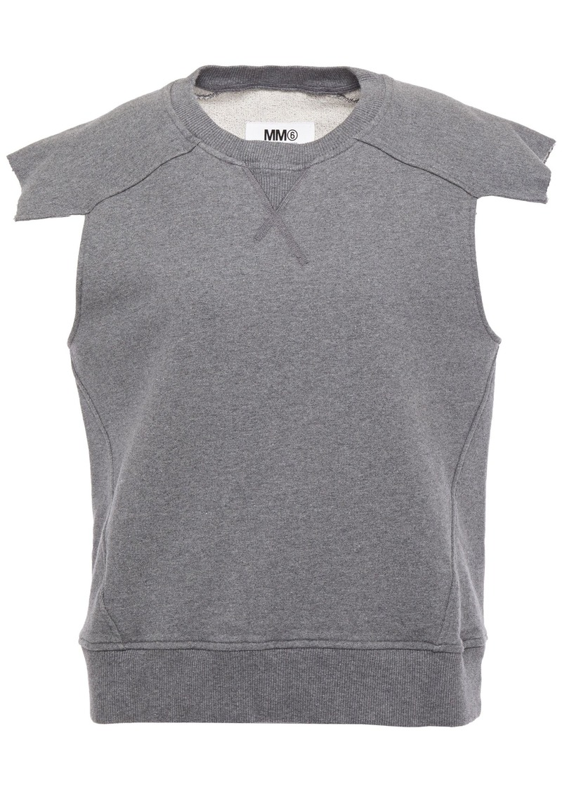 Mm6 Maison Margiela Woman French Cotton-terry Top Gray
