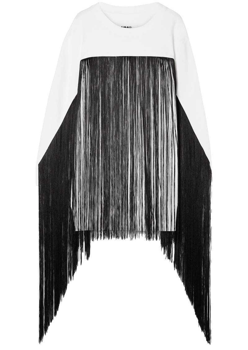 Mm6 Maison Margiela Woman Fringed French Cotton-terry Sweatshirt Off-white