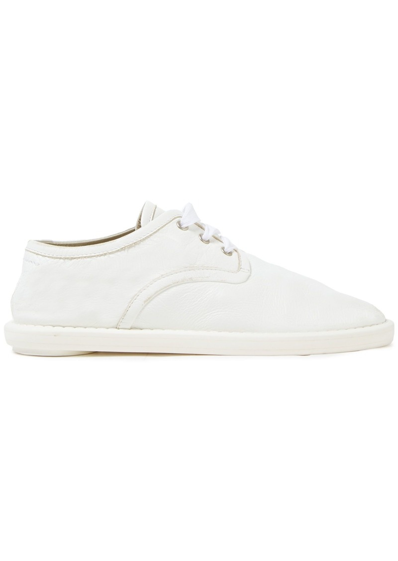 Mm6 Maison Margiela Woman Fuss-bett Distressed Textured-leather Sneakers White