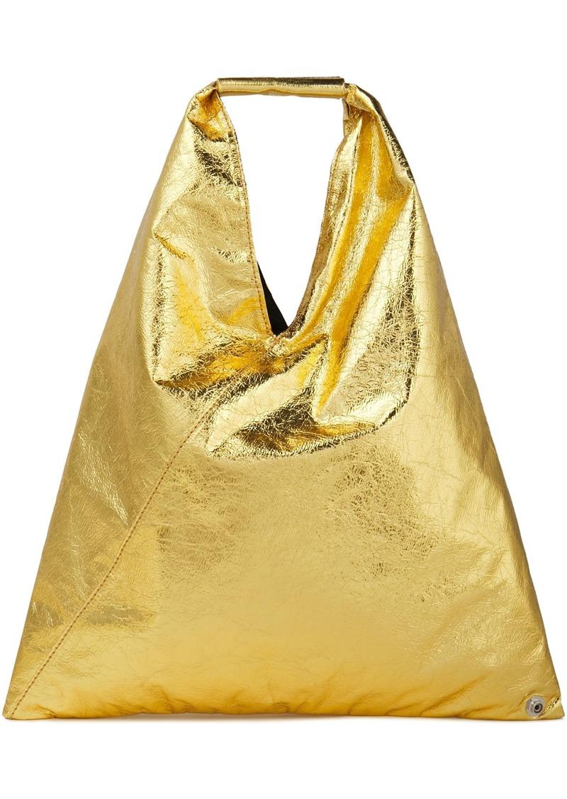 Mm6 Maison Margiela Woman Japanese Metallic Faux Cracked-leather Tote Gold