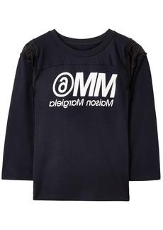 Mm6 Maison Margiela Woman Lace-trimmed Printed Jersey T-shirt Black
