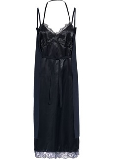 Mm6 Maison Margiela Woman Lace-trimmed Satin And Pinstriped Cady Dress Midnight Blue
