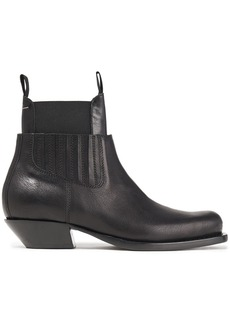 Mm6 Maison Margiela Woman Layered Leather Ankle Boots Black