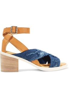 Mm6 Maison Margiela Woman Leather And Frayed Denim Sandals Mid Denim