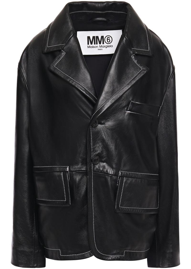 Mm6 Maison Margiela Woman Leather Jacket Black