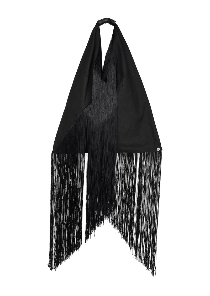 Mm6 Maison Margiela Woman Leather-trimmed Fringed Cotton-canvas Tote Black