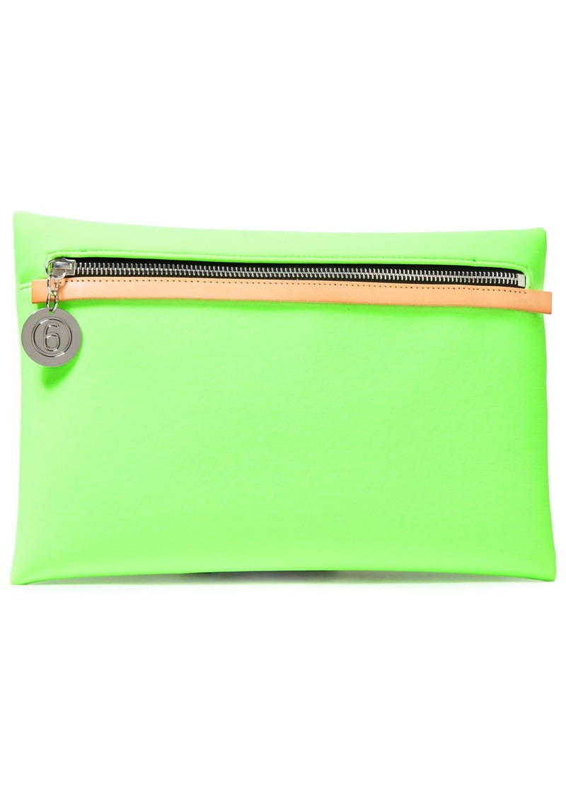 Mm6 Maison Margiela Woman Leather-trimmed Neon Neoprene Clutch Lime Green