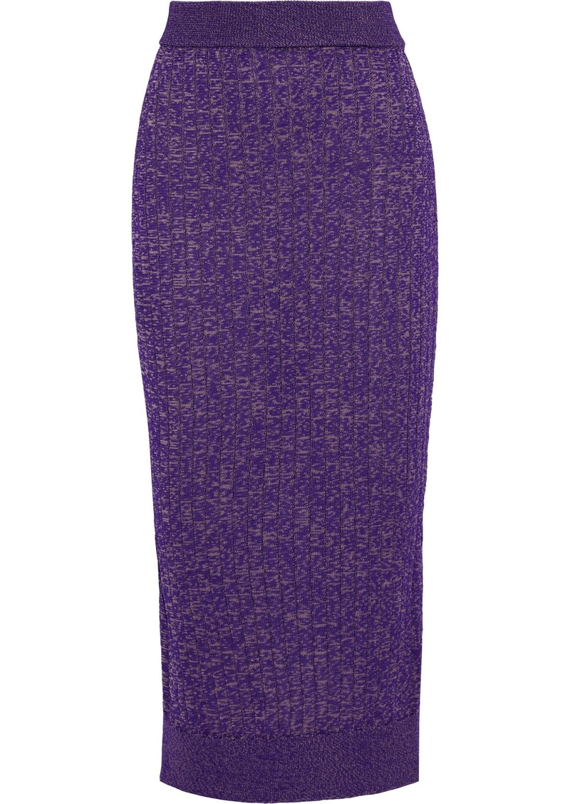 Mm6 Maison Margiela Woman Marled Ribbed-knit Midi Pencil Skirt Purple