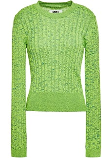 Mm6 Maison Margiela Woman Marled Ribbed-knit Sweater Bright Green