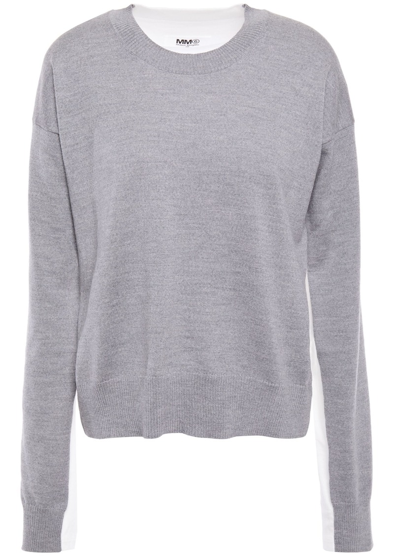 Mm6 Maison Margiela Woman Mélange Wool And Jersey Top Gray