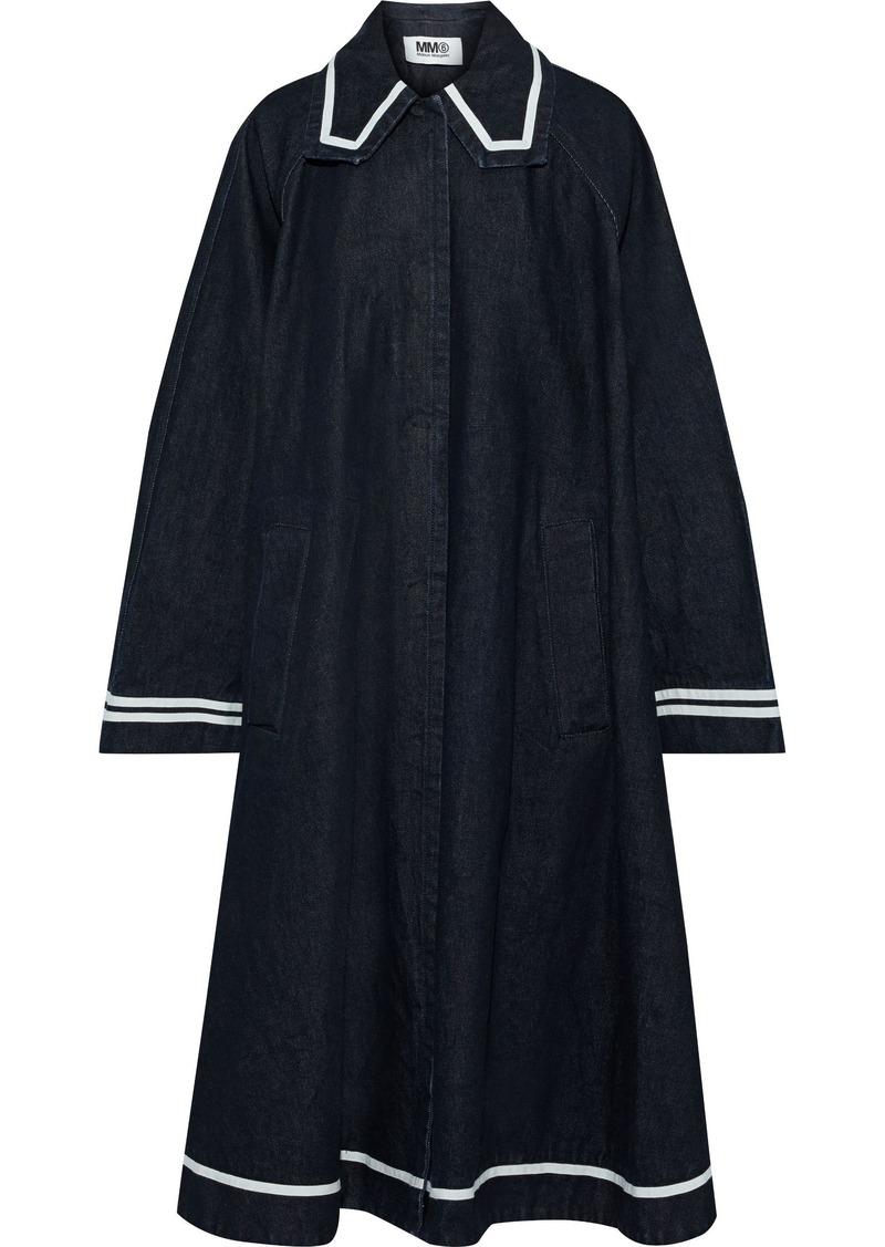 Mm6 Maison Margiela Woman Oversized Canvas-trimmed Denim Coat Dark Denim