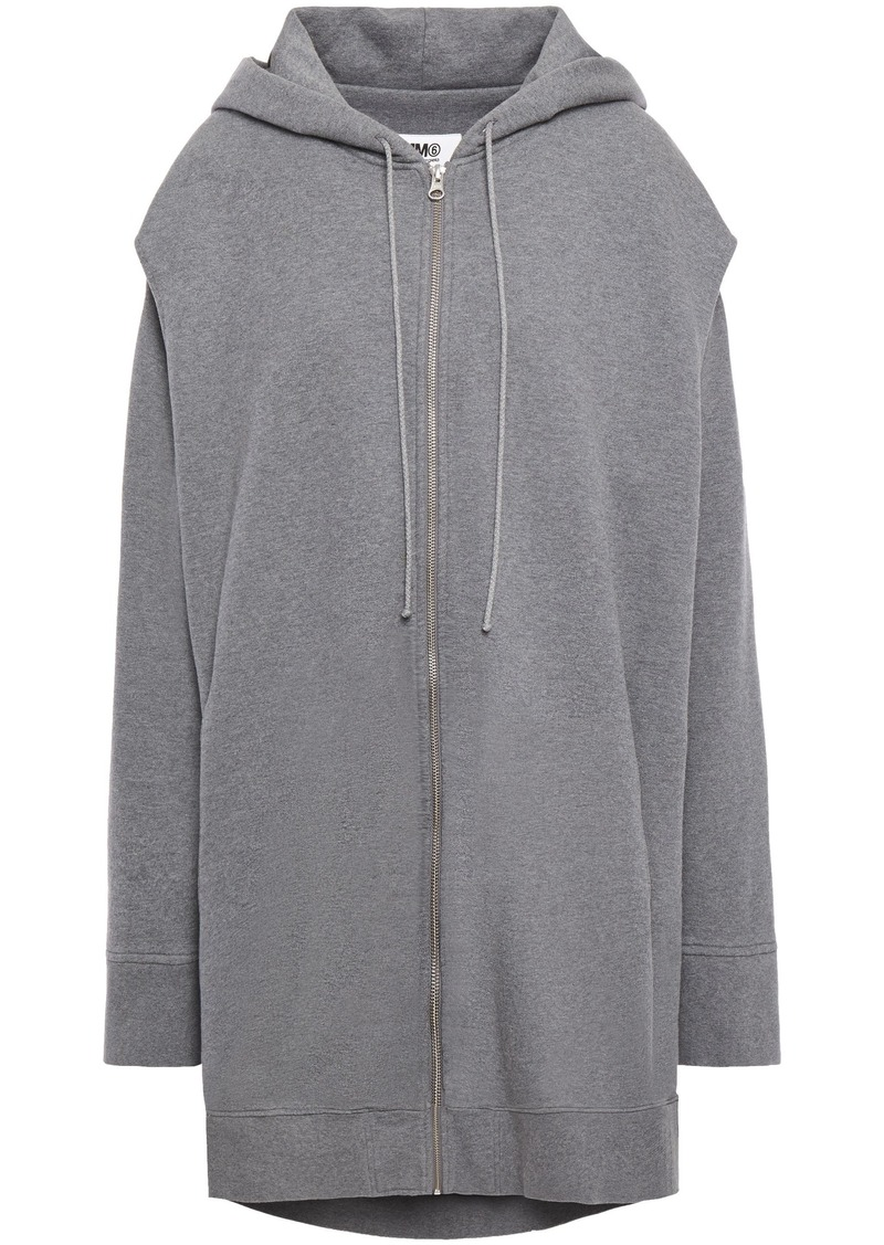 Mm6 Maison Margiela Woman Oversized Cutout Printed French Cotton-terry Hoodie Gray