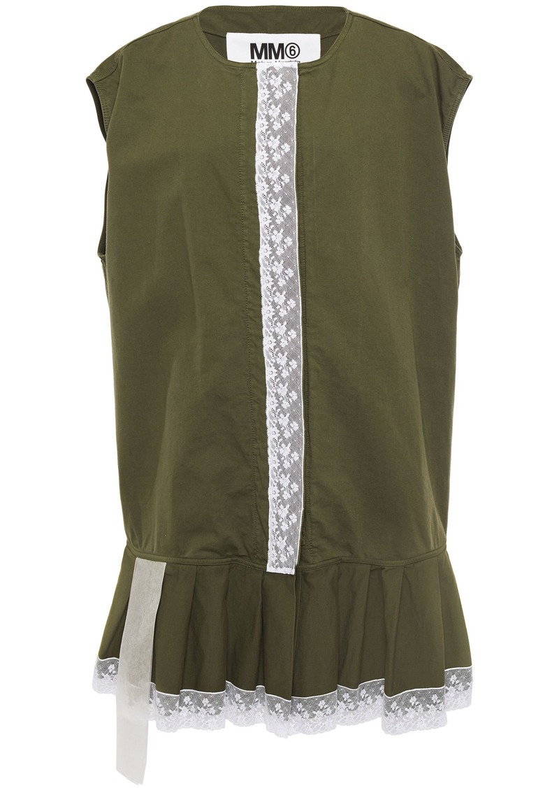 Mm6 Maison Margiela Woman Oversized Lace-trimmed Cotton-canvas Vest Leaf Green