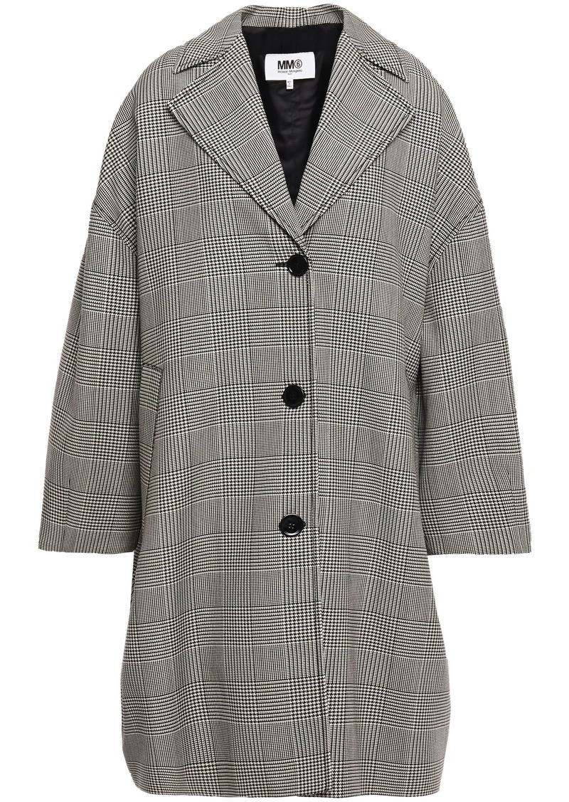 Mm6 Maison Margiela Woman Oversized Prince Of Wales Checked Wool-blend Coat Black