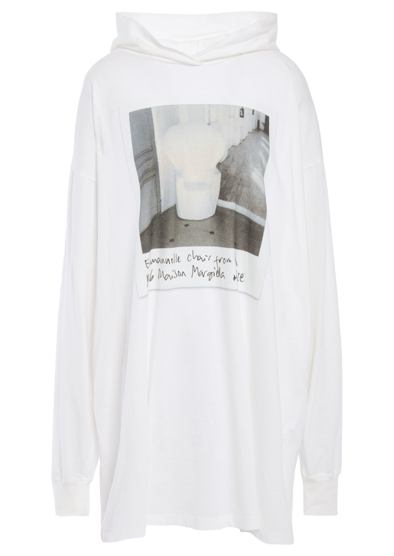 Mm6 Maison Margiela Woman Oversized Printed Cotton-jersey Hoodie Ivory