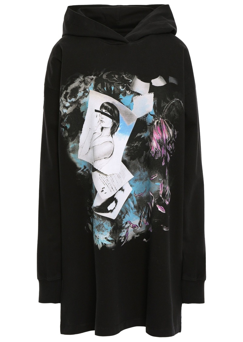 Mm6 Maison Margiela Woman Oversized Printed French Cotton-terry Hoodie Black