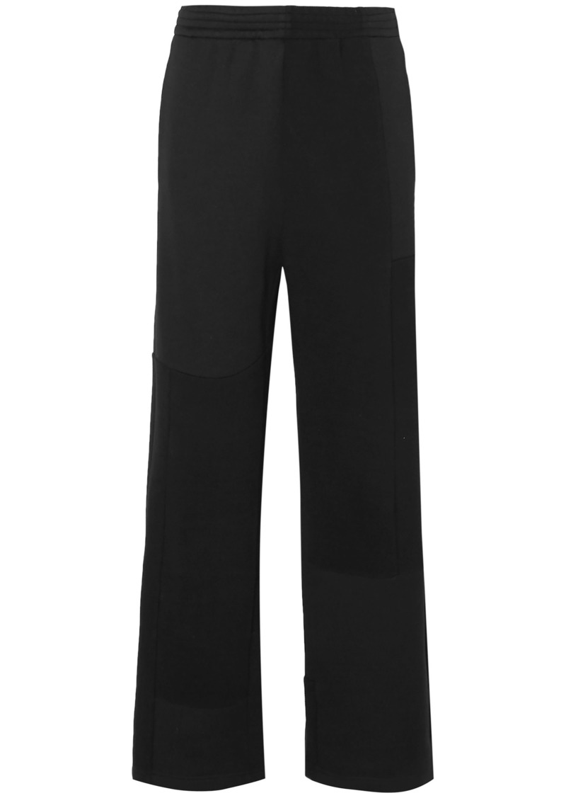 Mm6 Maison Margiela Woman Paneled Twill And Cotton-blend Jersey Track Pants Black