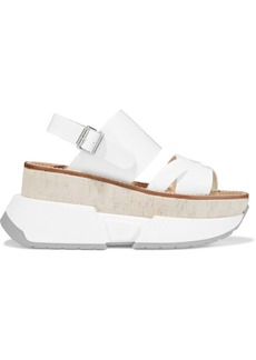 Mm6 Maison Margiela Woman Patent-leather Platform Slingback Sandals White