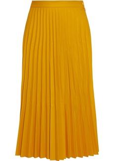 Mm6 Maison Margiela Woman Pleated Coated Stretch-jersey Midi Skirt Yellow