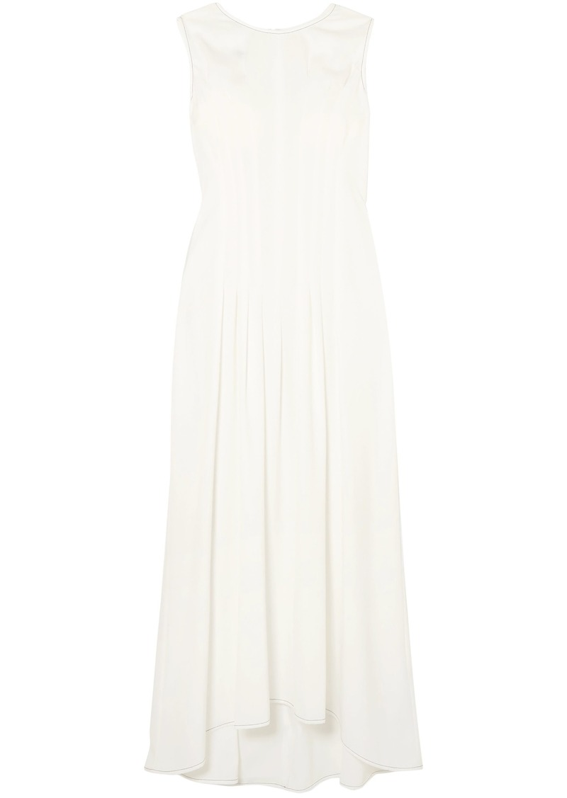 Mm6 Maison Margiela Woman Pleated Washed-twill Maxi Dress White