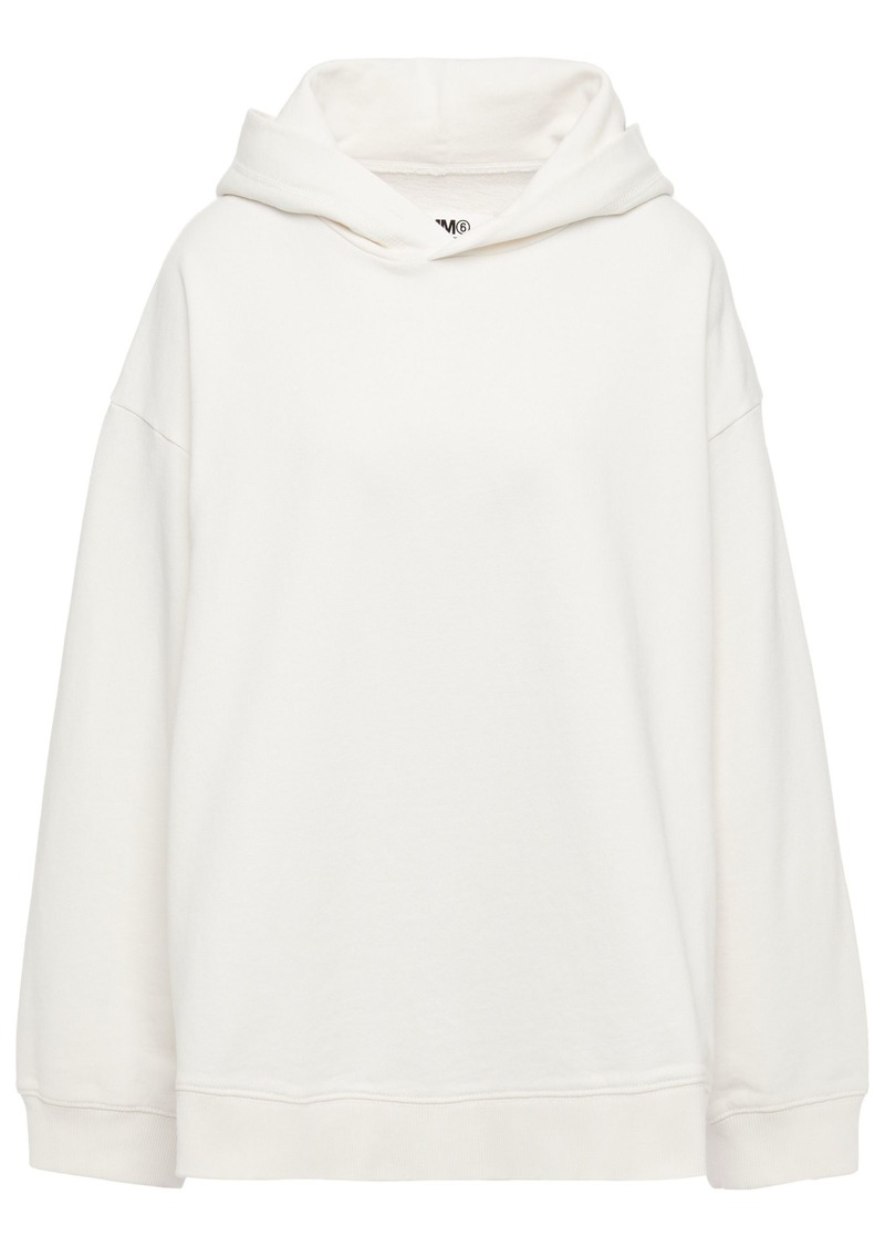 Mm6 Maison Margiela Woman Printed French Cotton-terry Hoodie Ivory
