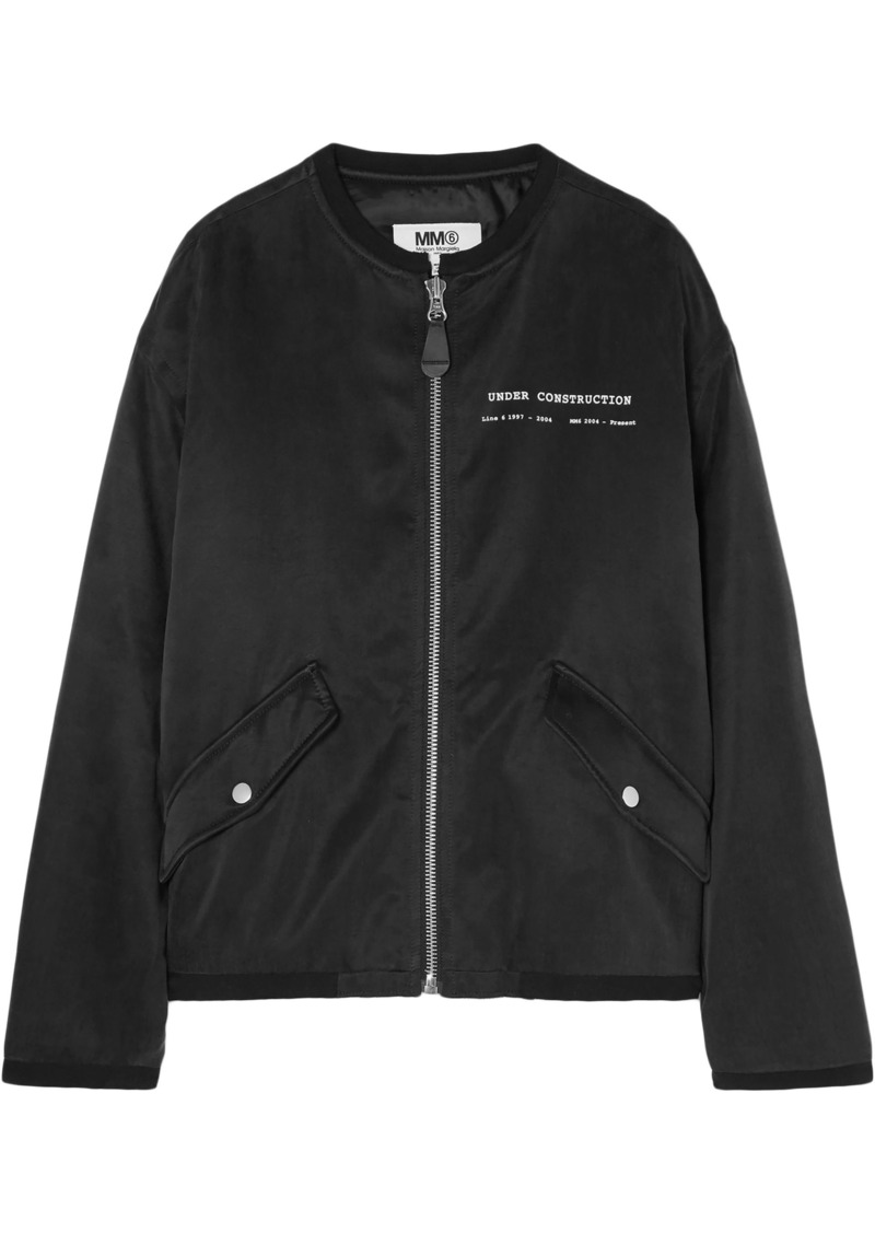 Mm6 Maison Margiela Woman Printed Satin Bomber Jacket Black