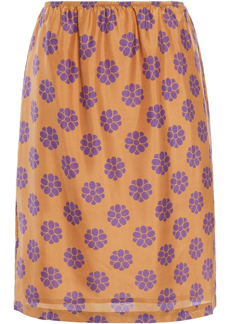 Mm6 Maison Margiela Woman Printed Silk Skirt Camel