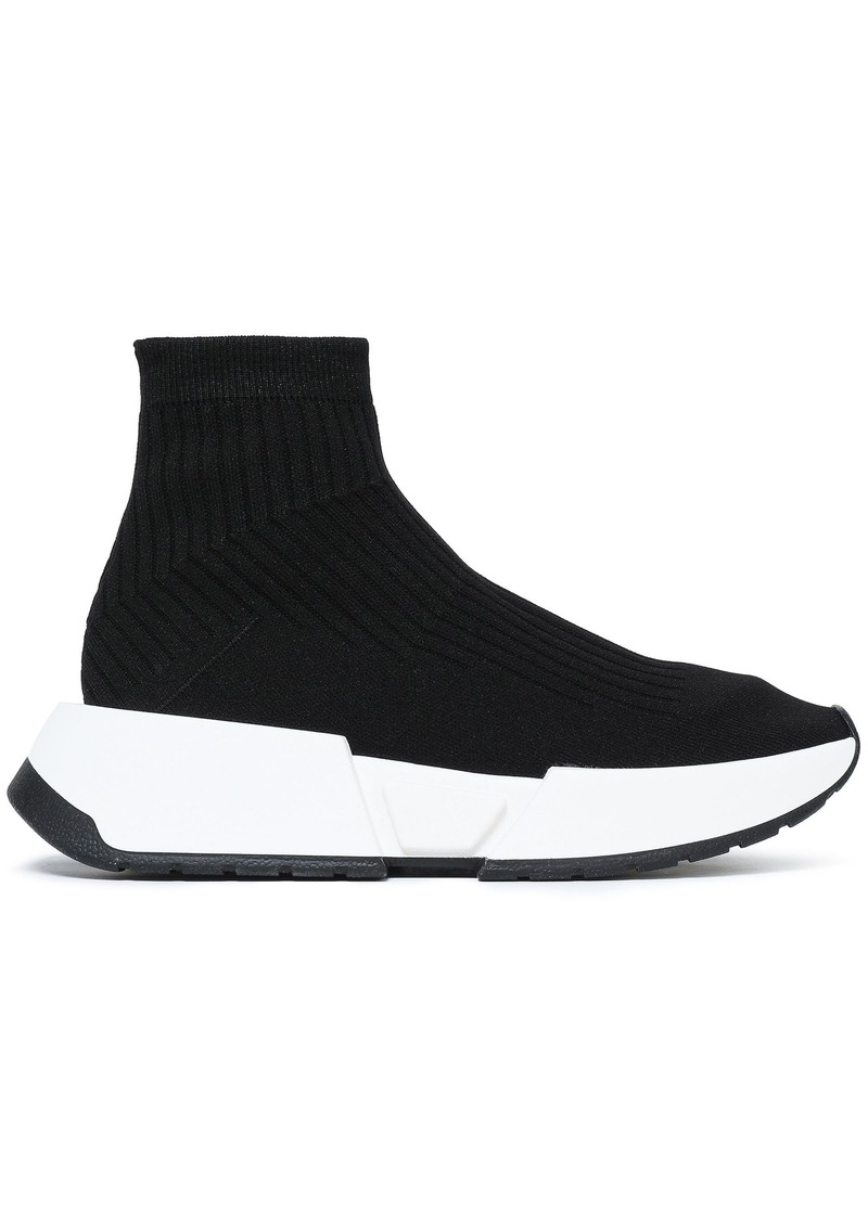 Mm6 Maison Margiela Woman Ribbed-knit Slip-on Sneakers Black