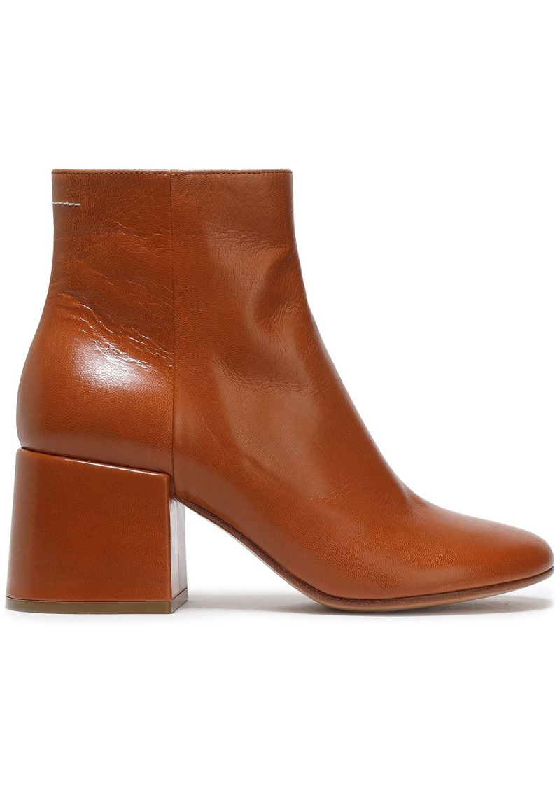 Mm6 Maison Margiela Woman Ring-embellished Glossed-leather Ankle Boots Light Brown