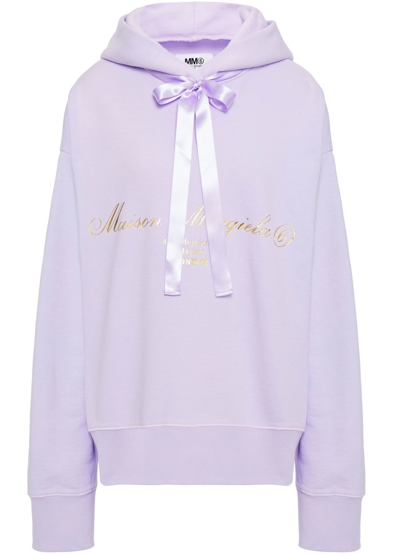 Mm6 Maison Margiela Woman Satin-trimmed Cutout Printed French Cotton-terry Hoodie Lilac