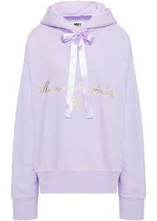 Mm6 Maison Margiela Woman Cutout Satin-trimmed Printed French Cotton-terry Hoodie Lilac