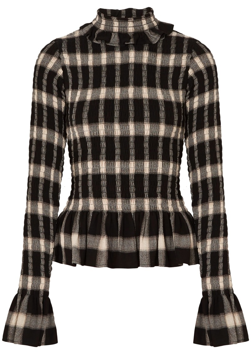 Mm6 Maison Margiela Woman Shirred Checked Crepe Turtleneck Top Black