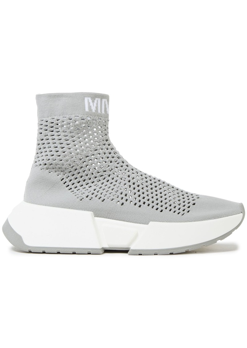 Mm6 Maison Margiela Woman Sock Runner Open-knit High-top Sneakers Stone