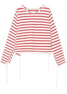 Mm6 Maison Margiela Woman Striped Cotton Top White