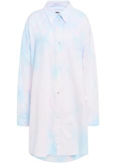 Mm6 Maison Margiela Woman Tie-dyed Cotton-poplin Mini Shirt Dress Pastel Pink
