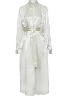 Mm6 Maison Margiela Woman Tie-front Printed Charmeuse Maxi Shirt Dress Ecru