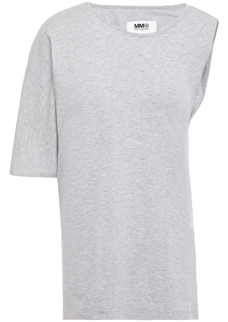 Mm6 Maison Margiela Woman Twist-back Cotton-jersey Top Light Gray