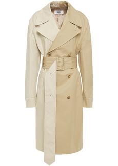 Mm6 Maison Margiela Woman Two-tone Cotton-gabardine Trench Coat Beige