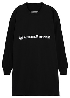 Mm6 Maison Margiela Woman Wool-paneled Printed Cotton-blend Jersey Mini Dress Black