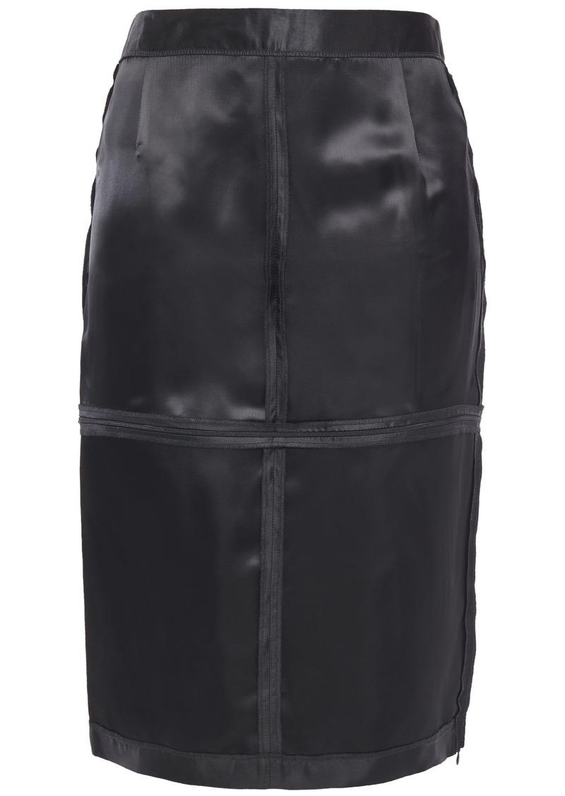 Mm6 Maison Margiela Woman Zip-detailed Satin-twill Skirt Black