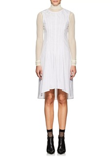 MM6 Maison Margiela Women's Pleated-Front Pinstriped Cotton Poplin Shirtdress