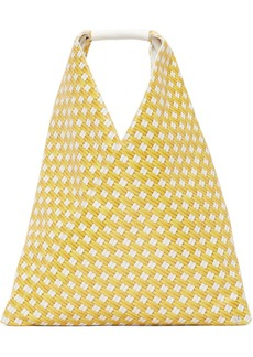 MM6 Maison Margiela Yellow Faux-Leather Small Triangle Tote